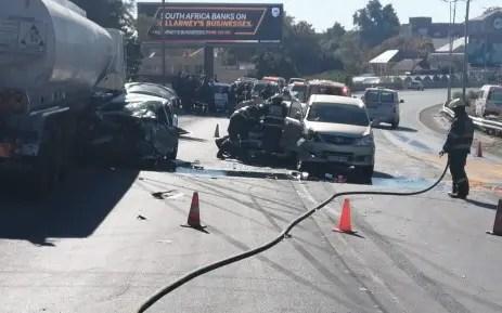 Tanker spilling diesel onto M1 after multi-vehicle accident