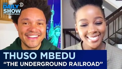 Trevor Noah chats to Thuso Mbedu on The Daily Show