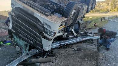 Truck driver injured in rollover