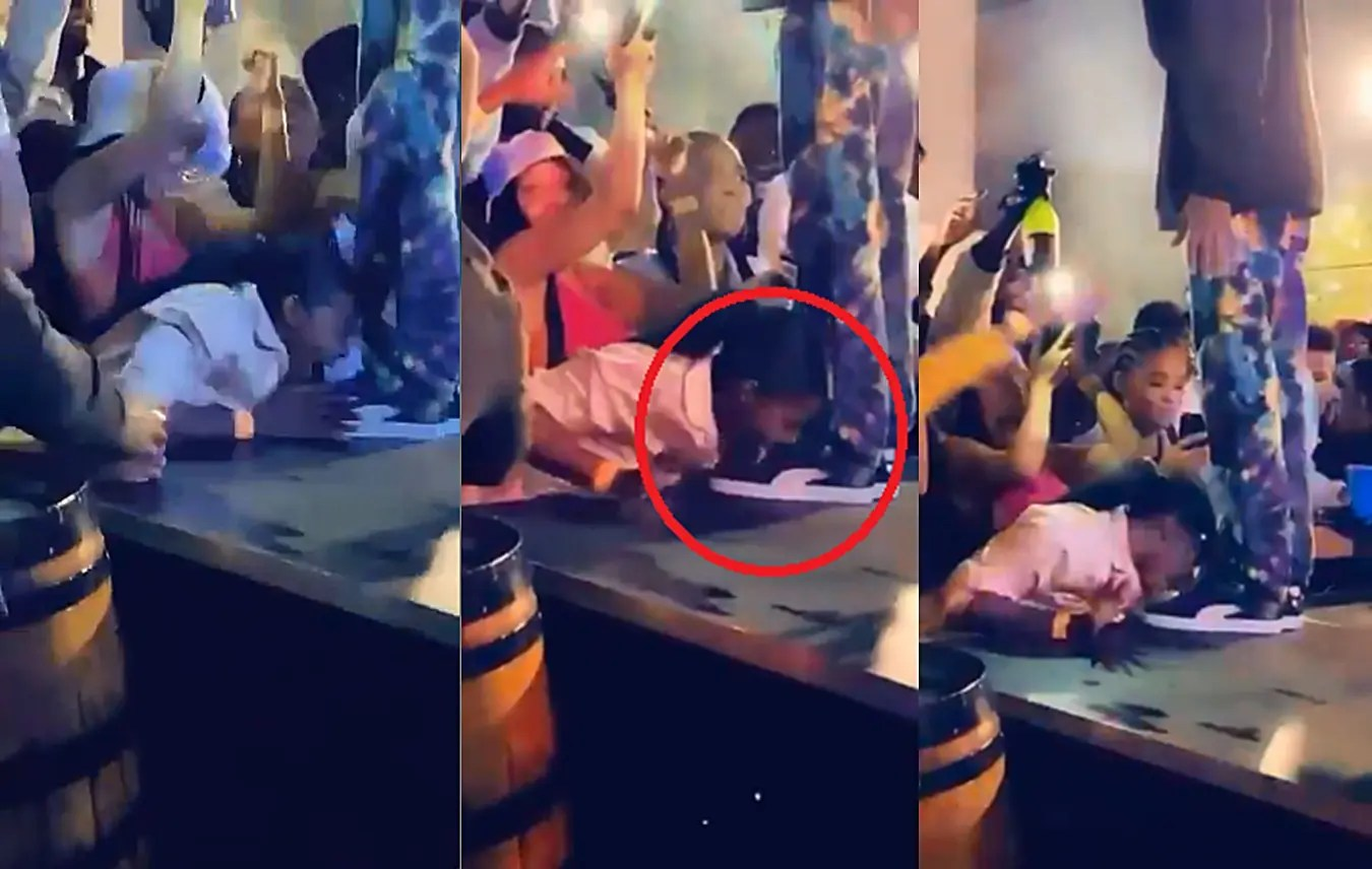 Woman licks Riky Rick's shoes as she goes crazy over him