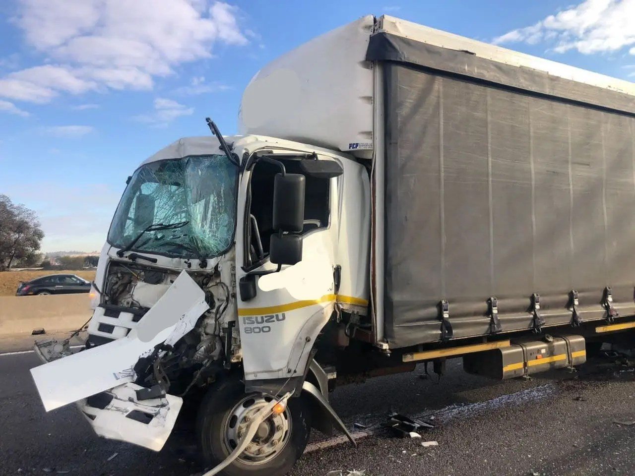 One seriously injured in three truck collision