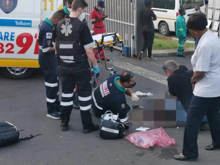 Security guard injured after driver knocks over concrete pillar