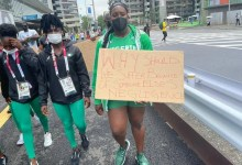Banned Nigerian athletes protest in Japan