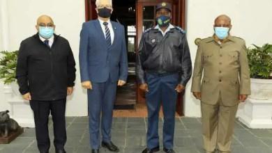 Community Safety MEC Albert Fritz, Premier Alan Winde and Western Cape police commissioner Thembisile Patekile and Deputy National Commissioner (crime detection) Sindile Mfazi