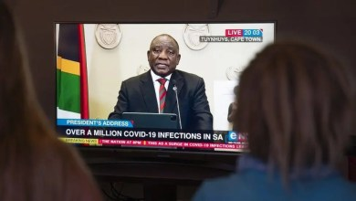 South Africans watch and listen as President Ramaphosa addresses the nation