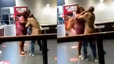 Drama as woman beats up her husband in public