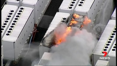 Tesla Big Battery burning