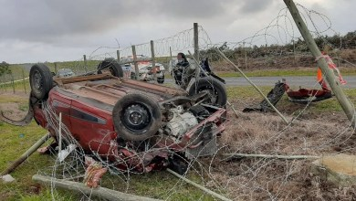 Driver and passenger seriously injured in roll-over