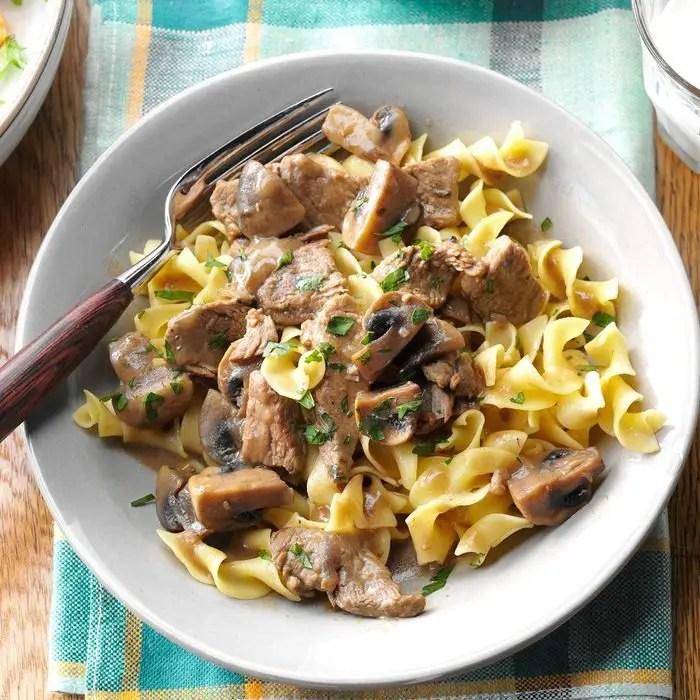Beef Burgundy Over Noodles recipe
