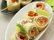 Smoked salmon and pancake rolls