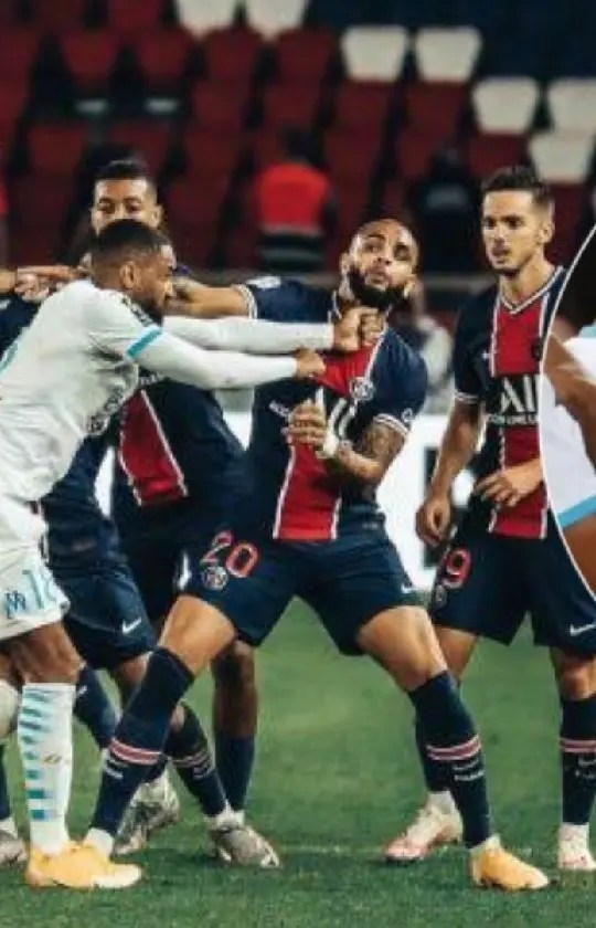 PSG vs Marseille: 5 red cards, 14 yellow cards