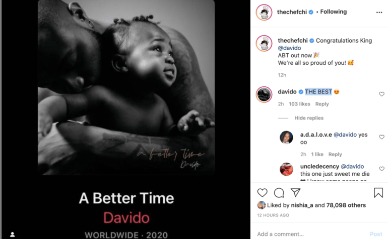 Chioma and Davido are being cute on Instagram