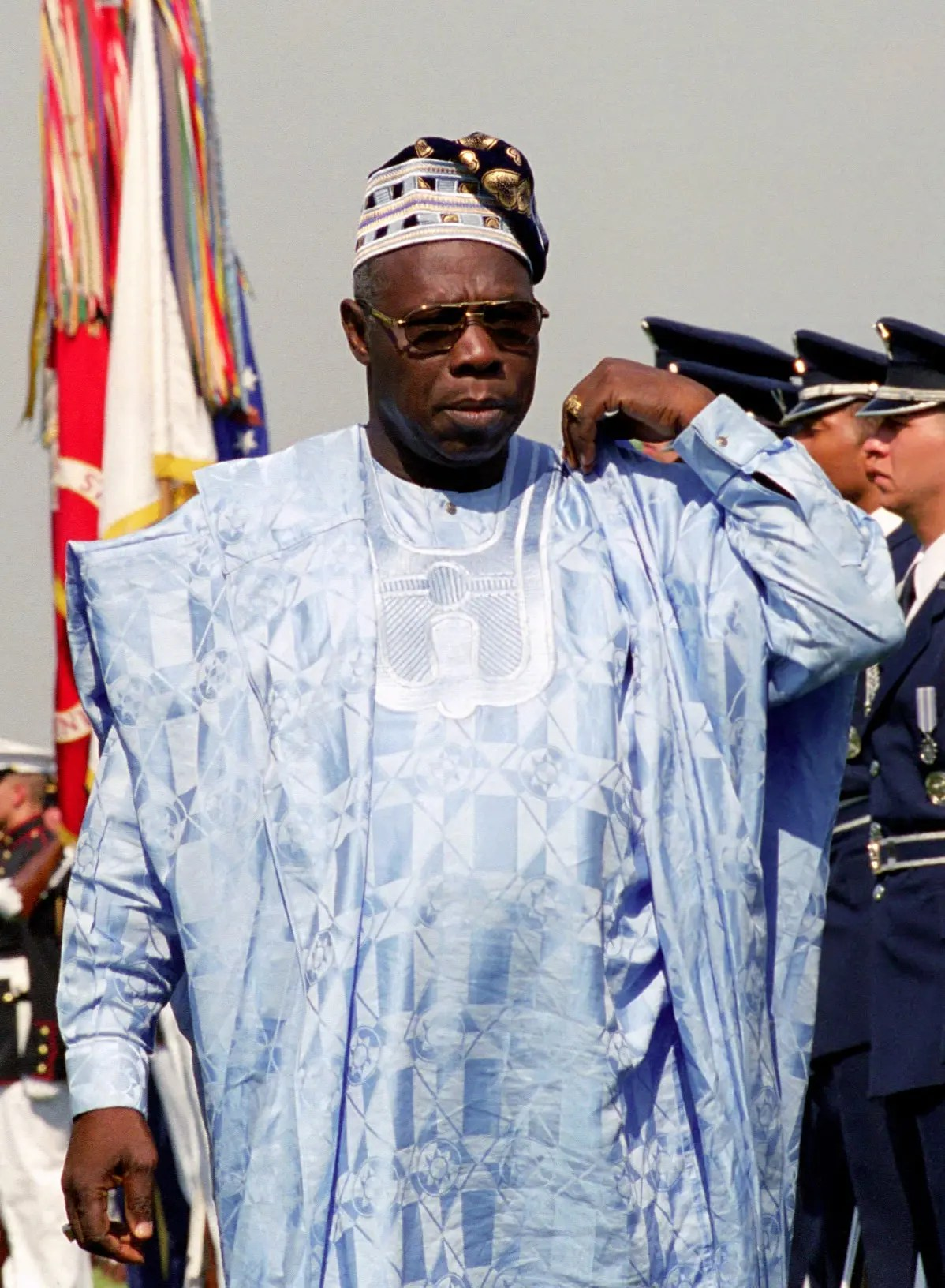 President Matthew Olusegun Aremu Obasanjo (center, right), Federal Republic of Nigeria, participates in a Full Honor Arrival Ceremony hosted by the Honorable Donald H. Rumsfeld (not pictured), U.S. Secretary of Defense, at the River Entrance of the Pentagon, Washington, D.C., May 10, 2001. OSD Package No. 010510-D-2987S-003-062 (Photo by Helene C. Stikkel) (Released)