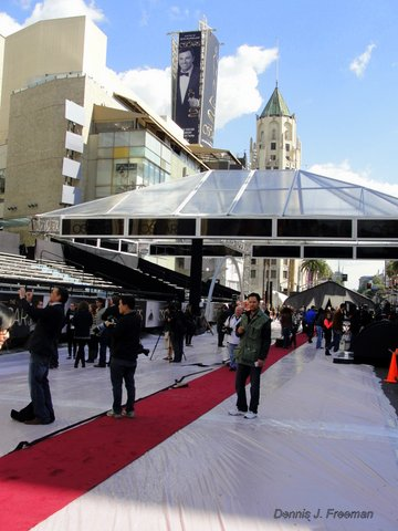 Media behind the scenes as the Academy Awards gets ready for its big night. Photo by Dennis J. Freeman