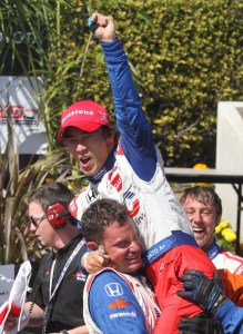 Takuma Sato after winning the 2013 Grand Prix of Long Beach in Long Beach, CA. Photo Credit: Kevin Reece