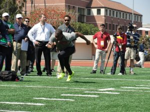 Woods at this year's USC Pro Day. Photo Credit: Dennis J. Freeman
