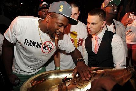 "Miami Heat All-Star Dwyane Wade Celebrates his team's NBA Championship last season with some Armand de Brignac (""Ace of Spades"") Champagne.  (PRNewsFoto/Armand de Brignac Champagne, Seth Browarnik/WorldRedEye.com)"