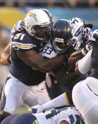 Kendall Reyes #91 of the Chargers during the game. The Seattle Seahawks defeated the San Diego Chargers by the final score of 31-10 in a preseason game at Qualcomm Stadium in San Diego CA. Photo: Kevin Reece/News4usonline.com