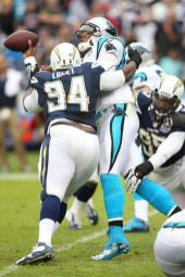 Cam Newton gets leveled in a game against the San Diego Chargers last year. Photo Credit: Michael Zito