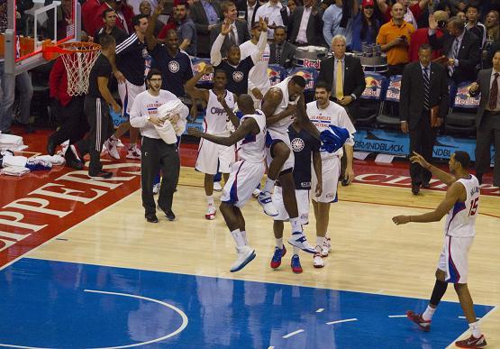 Clippers center DeAndre Jordan celebrates a big play. Photo Credit: Jevone Moore/News4usonline.com