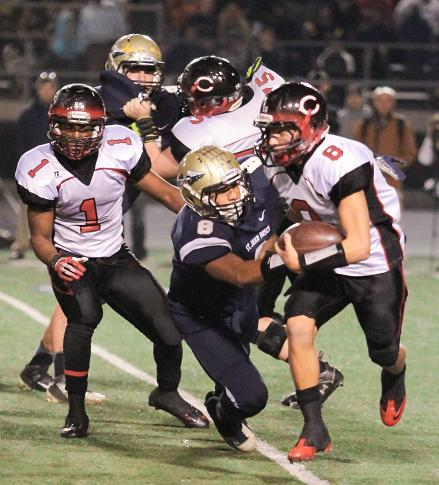 Corona Centennial quarterback Robert Webber produced five touchdowns against St. John Bosco's defense. Photo Credit: Jevone Moore/ Fulll Image 360