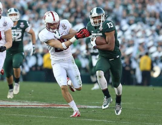 Michigan State wide receiver Bennie Fowler makes a big play against Stanford. Photo Credit: Jevone Moore/Full Image 360