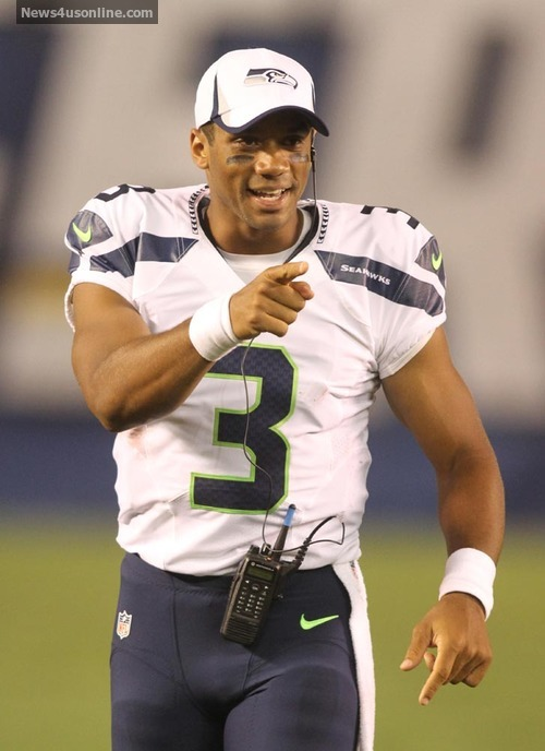 Russell Wilson #3 of the Seahawks during the game. The Seattle Seahawks defeated the San Diego Chargers by the final score of 31-10 in a preseason game at Qualcomm Stadium in San Diego CA.