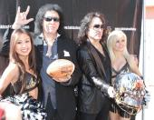 Gene Simmons and Paul Stanley ham it up at the LA Kiss media day. Photo: Jevone Moore/News4usonline.com