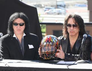 Gene Simmons and Paul Stanley, who are one half of the legendary rock group Kiss, unveil the LA Kiss helmet at the team media day at the Honda Center in Anaheim, California. Photo: Jevone Moore/News4usonline.com