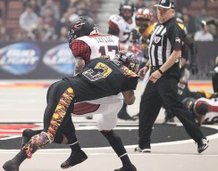 LA Kiss Defensive Back Andre Jones Making 1 of Team High 8 Tackles. Photo Credit : Jordon Kelly/ News4usonline.com