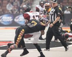 LA Kiss Defensive Back Andre Jones Making 1 of Team High 8 Tackles. Photo Credit : Jordon Kelly/ News4usonline.com