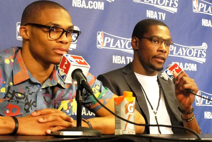 Dynamic duo: Russell Westbrook and NBA regular season MVP Kevin Durant outdueled the Los Angeles Clippers./News4usonlin.com