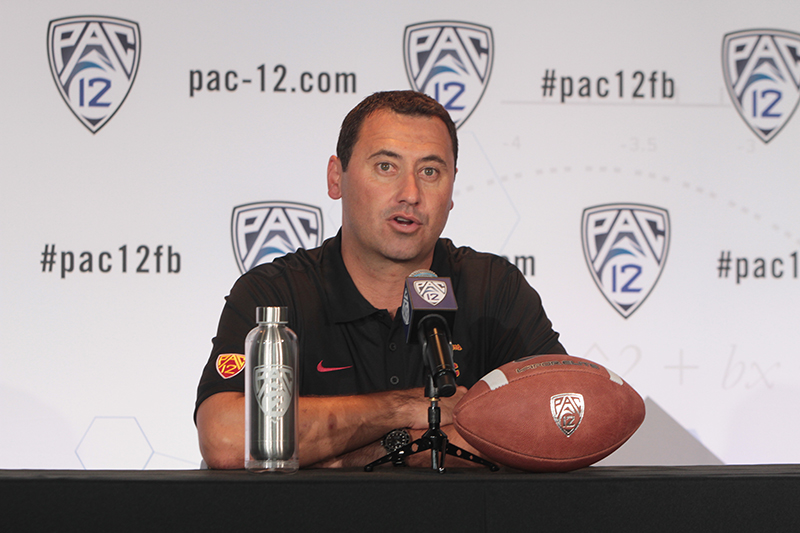 USC Head Coach Steve Sarkisian addressing the Media on the main stage. Photo by Jevone Moore / News4usonline.com