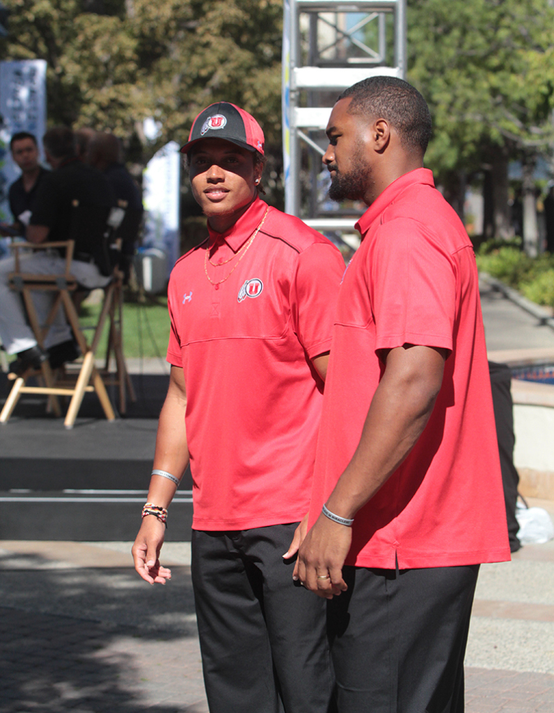 Utah Utes Teammates Dres Anderson & Nate Orchard take in all sites on Paramount Studios lot for PAC-12 Media Day. Photo by Jevone Moore / News4usonline.com
