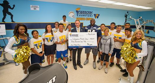 Chargers unveil Wangenheim Middle School's New Fitness Center with Corey Liuget and AG Spanos, Courtesy of a $40,000 Chargers Champions school grant.