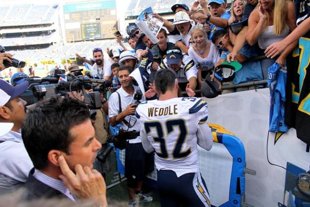 Pro Bowl safety Eric Weddle signs autographs and hangs out with San Diego Chargers fans after the win against Jacksonville. Photo Credit: Dennis J. Freeman/News4usonline.com