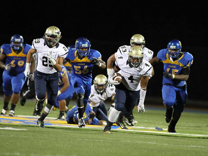 Bosco Linebacker Dennis Willis on fumble recover rumbling for some yards. Photo Credit Jevone Moore Full Image 360 / News4usonline.com
