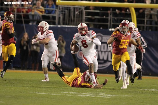Nebraska running back Ameer Abdullah out in the open field. Photo Credit: Jevone Moore/News4usonline.com