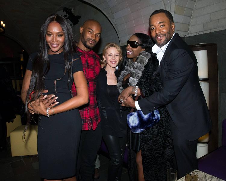 EMPIRE: (L-R): Naomi Campbell, Tyson Beckford, Kylie Minogue, Foxy Brown and EP/Creator Lee Daniels attend an exclusive screening of the new FOX show EMPIRE at the Bryant Park Hotel on Monday, Dec. 8, in New York City. CR: Ben Hider/FOX