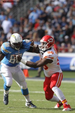 Sunday October19, 2014; Justin Houston #50 of the Chiefs during the game.The Kansas City Chiefs defeated the San Diego Chargers by the final score of 23-20 at Qualcomm Stadium in San Diego, CA./Kevin Reece/News4usonline.com