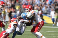 Wide receiver Eddie Royal (11) is sandwiched between two Kansas City Chiefs defenders. Photo Credit: Kevin Reece/News4usonline.com