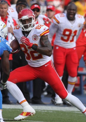 Sunday October19, 2014; Dwayne Bowe #82 of the Chiefs during the game.The Kansas City Chiefs defeated the San Diego Chargers by the final score of 23-20 at Qualcomm Stadium in San Diego, CA. Photo Credit: Kevin Reece/News4usonline.com