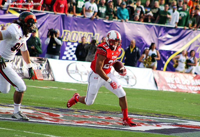 Utah running back DeVontae Booker rushed for 162 yards on 26 carries against Colorado State in the 2014 Royal Purple Las Vegas Bowl. Photo Credit: Dennis J. Freeman/News4usonline.com