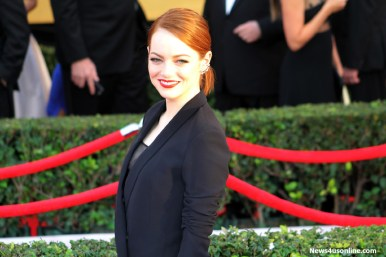 Emma Stone flashes her winning smile on the red carpet of the 21st SAG Awards that took place Sunday, Jan. 25, 2015, at the Los Angeles Shrine Exposition Center. Photo by Dennis J. Freeman/News4usonline.com