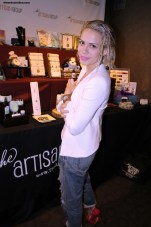 """Dexter"" actress Bethany Joy Lenz hangs out at The Artisan Group table while attending the GBK Golden Globes Gift Lounge at the W Hotel. Photo by Dennis J. Freeman/News4usonline.com"