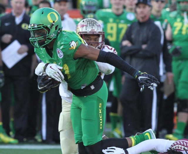 An Oregon offensive player on the move against Florida State in the Rose Bowl. Courtesy photo