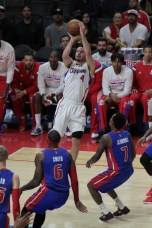 J.J. Redick, who scored 14 points in the Clippers 113-91 win against the Detroit Pistons Dec.. 15, 2014, launched one of his patened jump shots. Photo by Jevone Moore/News4usonline.com