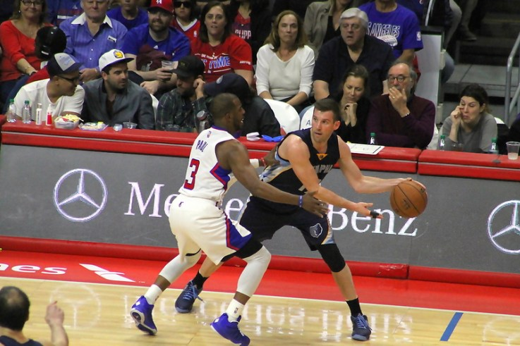 Chris Paul playing some lockup defense against the Grizzlies Saturday, April 11, 2015. Photo Credit: Dennis J. Freeman/News4usonline.com