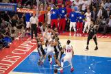 DeAndre Jordan tips the ball in the cylinder with less than 5 seconds left in Game 5. The play was wiped away because of offensive interference and the Clippers drop Game 5 to the Spurs 111-107. Photo Credit: Tiffany Zablosky/News4usonline.com