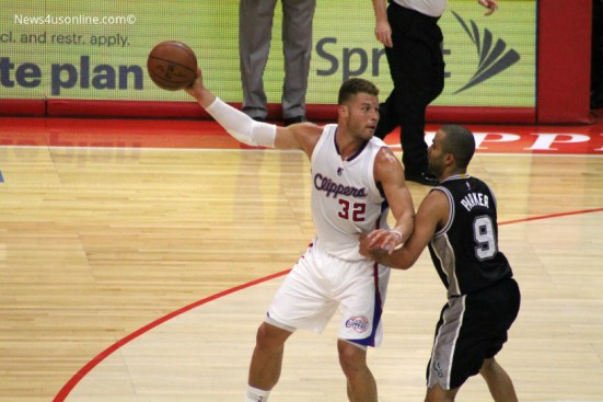 Blake Griffin's recorded triple-double against the Spurs in Game 2 included 11 assists. Photo Credit: Dennis J. Freeman/News4usonline.com